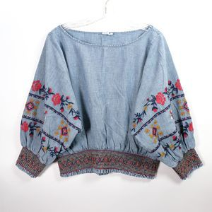 Gap Denim Embroidered Boho dolman Sleeve Top M